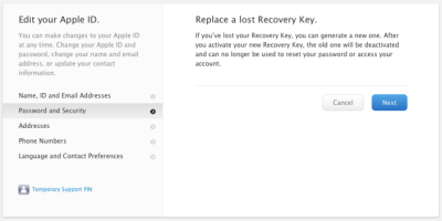 iTunes ID Recovery Key