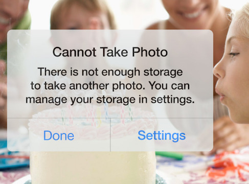 iOS photo storage pop up