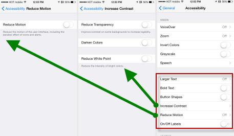 iOS 8 accessebility menu