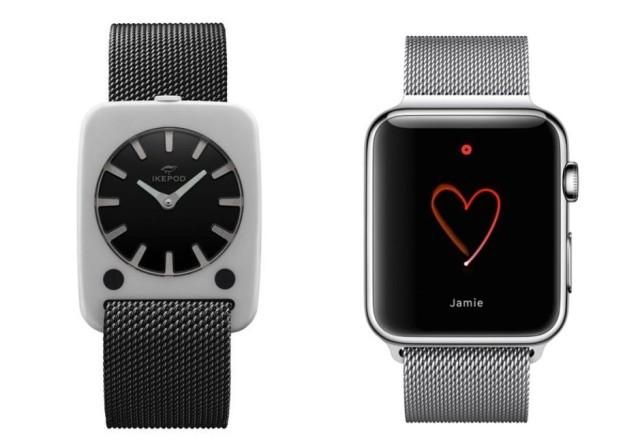 מימין השעון של אפל עם הלופ המילינזי ומשמאל שעון ה- Ikepod עם רצועה דומה מאוד