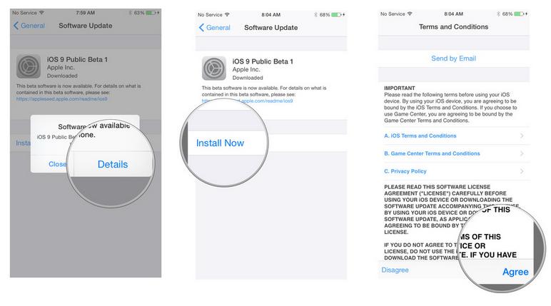 iOS 9 public beta steps 2