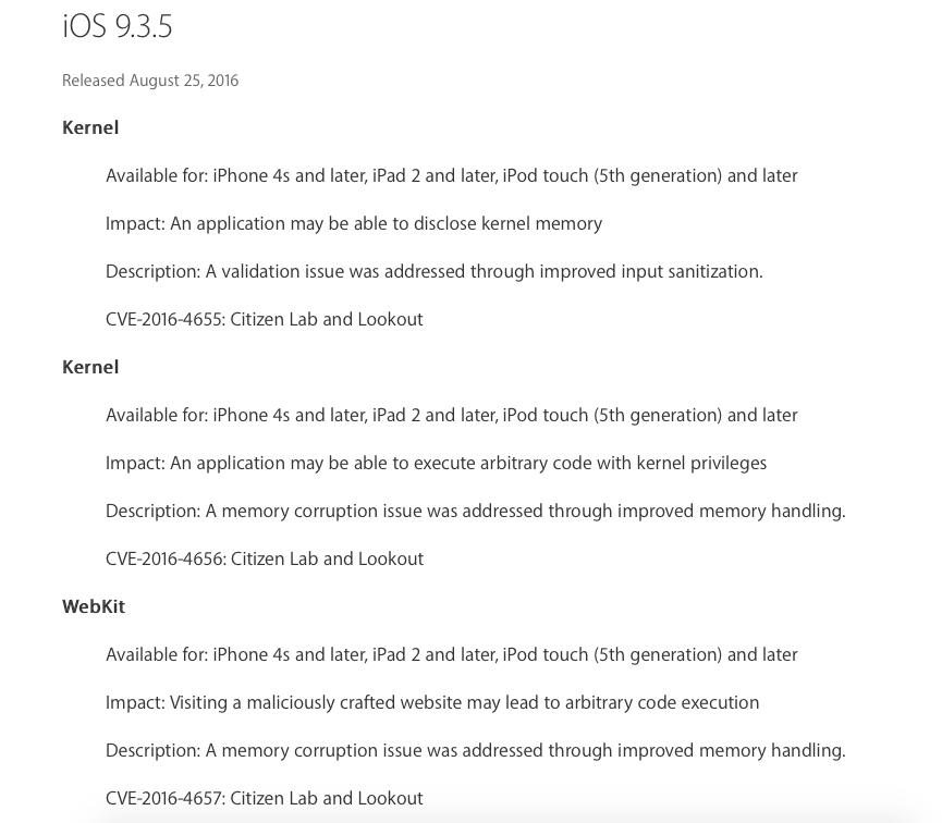 iOS 935 info